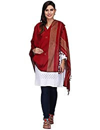 The Weave Traveller Handloom Hand Woven Red Cotton Dupatta Cum Stole With Pom Pom Edgings For Women & Girls