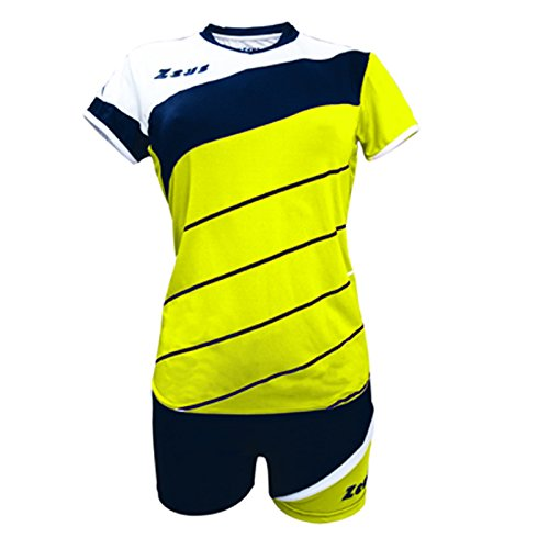 Zeus Kit Lybra Donna Damen Volleyball Trikot Hose Shirt Indoor Handball Training Ausbildung Gelb-Blau-Weiss (M)
