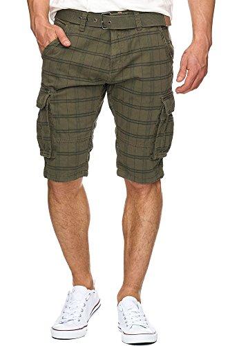 Grün-karo-hose (S!RPREME Karierte Herren Cargo Shorts inkl. Gürtel Bermuda Kurze Hose Jeans Karo Chino Battlefield 70-050 Grün XL)