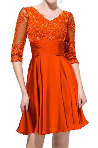 Gorgeous Bride Elegant Halb Aermel Empire Chiffon Satin Tuell Spitze Mini Abendkleider Ballkleider Festkleider Orange