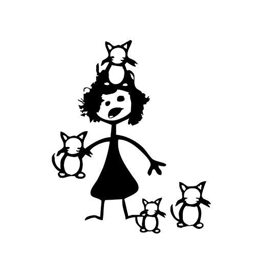 XIAOL Home Wasserdichter lustiger Karikatur-verrückter Frau Cat Car Door Window-Aufkleber-Selbstabziehbild-Dekor - Schwarzes