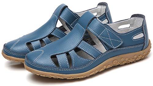 Geschlossene Sandalen Damen Flache Sommer Schuhe Bequeme Leder Sandaletten 2019