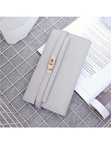 ZLJEE Mode Leder Brieftasche Frauen Geldbörsen Designer Hochwertige Kartenhalter Berühmte Kupplung,Light Gray