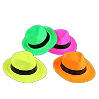 The Glowhouse 12 Neon Gangster Hats Plastic Fun Party Hat
