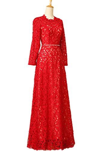 Lemandy Robe de soirée avec manches longues Rouge