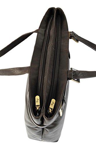GIGI Othello Pelle 2 Compartimento Donna Lavoro Spalla Borsa Shopping 8129B - Nero, Unisex adulti, Pelle Marrone