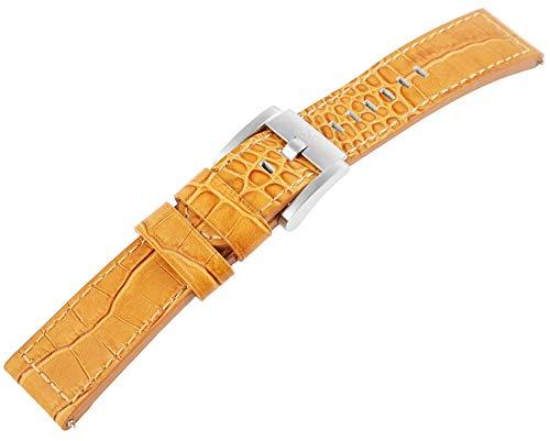 TW Steel Echt Leder Armband, 22 mm, Camel, Silber, Schließe