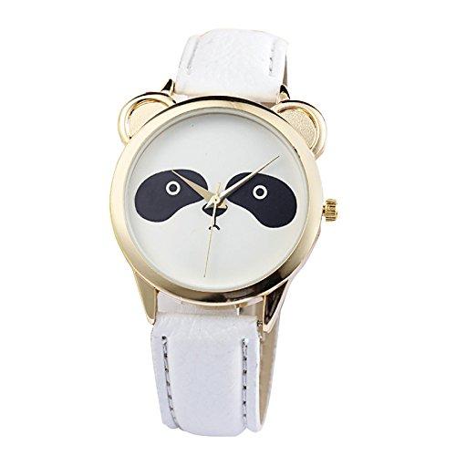 SODIAL(R) Neutral Fashion Schoener Panda Gesicht Muster Kunstleder Uhr Weiss (233 Panda)