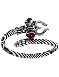 MEENAZ Rudraksha Trishul Damroo Designer Oxidized Silver Bahubali Kada Kadas Bracelet Unisex Cuff Bracelets for Men & Women Boys Bracelet-M113