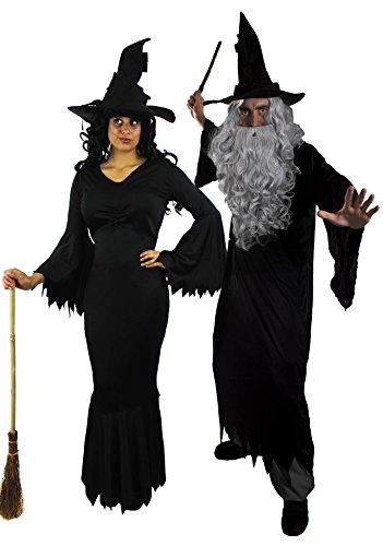 ILOVEFANCYDRESS Paare KOSTÜM Verkleidung =BÖSE Hexe +BÖSER Zauberer mit = Halloween +Karneval =Kleid+Robe+1 PERÜCKE+1 Bart+2 ZAUBERHÜTE+2 Plastik ZAUBERSTÄBE = Zauber-XLarge + ()