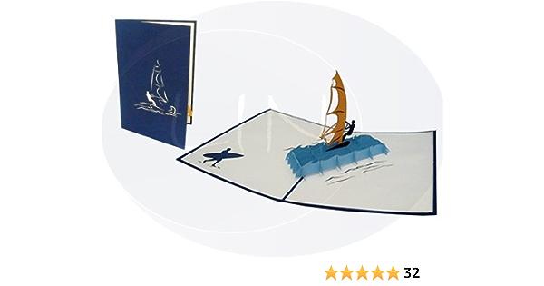 SOUND Pop Up 3D Panorama Karte Geburtstag Grußkarte Wellen Surfen 10x23cm