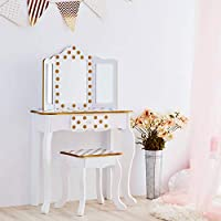 Teamson Kids TD-11670M Gisele Girls Wooden Dressing Table Vanity Set with Stool & Mirror for Kids Dress Up, White/Gold