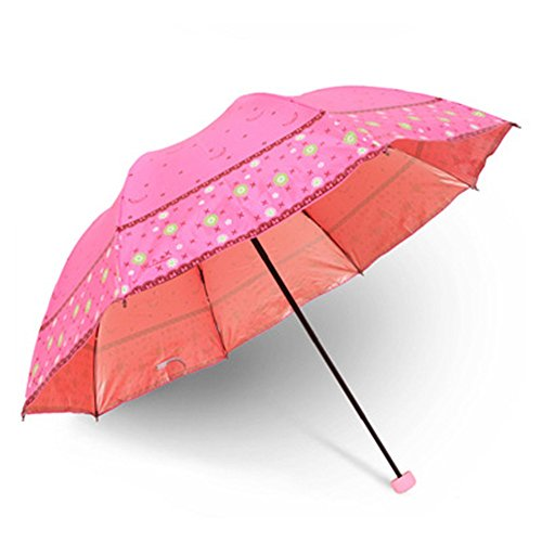 Dyewd ombrello,ombrello estivo da donna, super facile da trasportare ombrello, ombrellone a doppio uso soleggiato giorno di pioggia, ombrello di alta qualità, ombrello anti raggi uv, rosa