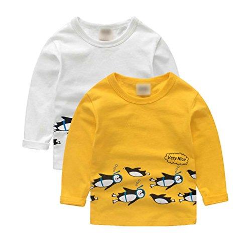 Jitong animal print Pingüinos Infantil Niño Manga Larga Sudadera Camisetas Cuello Redondo Top (2pcs, 90cm)