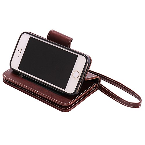 Lankashi Housse Case Stand Cuir Cover Flip Etui Coque Protection Skin Wallet Pour Apple iphone 5 5G 5S Green Desing Brown