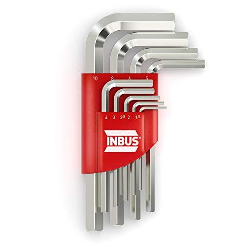 INBUS® 70150 Inbusschlüssel Set Kurz Metrisch 9tlg. 1,5-10mm | Made in Germany | Innensechskant-Schlüssel | Winkel-Schlüssel | 1,5mm | 2mm | 2,5mm | 3mm | 4mm | 5mm | 6mm | 8mm | 10mm | Kurze Ausführung