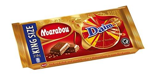 Preisvergleich Produktbild Marabou Daim Schokolade 7 x 250 g – zartschmelzende Milchschokolade mit Mandelkaramellstückchen – einzigartig leckere schwedische Süßigkeit – Daim