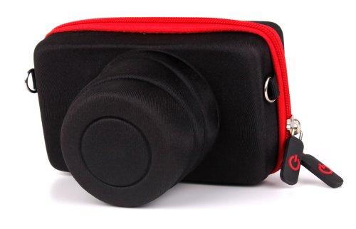 DURAGADGET Kameratasche/Tasche für Olympus E-PL8 / Yi M1 - Reißverschluss und Gurt - rot und schwarz