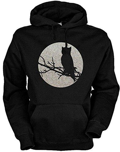 Biker Hoodie - Kapuzen Sweater Motiv: Owl Glitter Größen: S bis 3XL Größe L Farbe (Owl Hoodie)