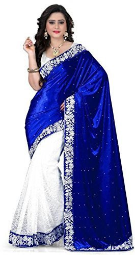 Sarees Designer Women's Net/Velvet Saree with Blouse piece(521 velvet_blue)