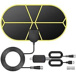 Antenne TV Intérieur Puissante TICTID, Max 140 Miles, Antenne TNT avec Amplificateur de Signal Booster, 3,7 Mètres Câble Coaxial, Soutien Smart TV 4K 1080P HD/HD/VHF/UHF/FM