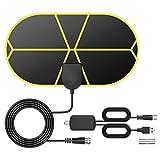 Antenna TV Interna, TICTID Antenna TV Digitale da Interno, Antenna HDTV Sottile VHF/UHF/FM, Supporta 4K 1080P HD/VHF/UHF con Amplificatore del Segnale Antenna HDTV Super Sottile con 4.4m Cavo