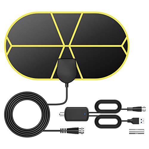 DVB-T2 Antenne Innen,Tragbare Digitale TV Antenne mit Intelligentem Signalverstärker, Unterstützt 4K 1080 HD/VHF/UHF, für Alle TV-Typen Geeignet, TICTID.