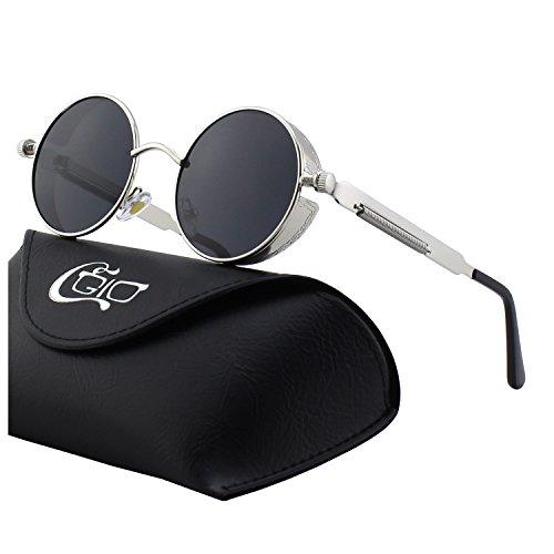 e4bd6c9a1a CGID E72 Steampunk estilo retro inspirado círculo metálico redondo gafas de  sol polarizadas para hombres (