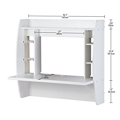 DEVAISE Wall Mounted Computer Desk with Storage, White