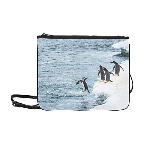 WYYWCY Gruppe Pinguine beobachten ihren Freund Jum Custom High-Grade Nylon Slim Clutch Crossbody Bag Umhängetasche (Tropische Zimmer Dekor)