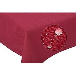"""ZOLLNER® Mantel antimanchas grande / mantel mesa rectangular, 140x180 cm, fácil de limpiar, 100% poliéster, burdeos, en otros colores y medidas, del especialista textil en hostelería, serie """"Lotus"""""""