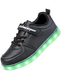 Shinmax Velcro Serie Zapatillas LED 7 Colores LED USB Recargable Zapatos de Ocasionales de Luces deChico y Chica para Halloween Navidad Día de Gracias con el CE Certificado