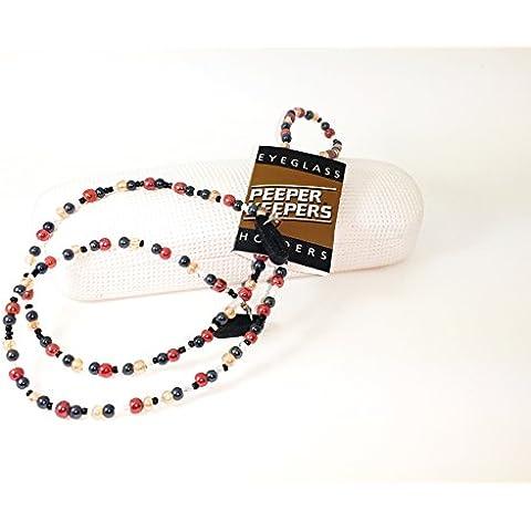 Peeper Keepers Perla de vidrio espectáculo Gafas soporte de cordón para el cuello cadena de color ámbar, color blanco y rojo