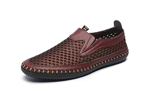 FSTOEE Water Shoes for Men's Mesh Casual Walking Shoes Slip-on Loafers Coffee(44)