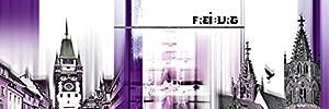 Artland Poster Kunstdruck oder Leinwand-Bild Wandbild fertig aufgespannt auf Keilrahmen Nettesart Freiburg Skyline Abstrakte Collage Städte Deutschland Freiburg Digitale Kunst Lila