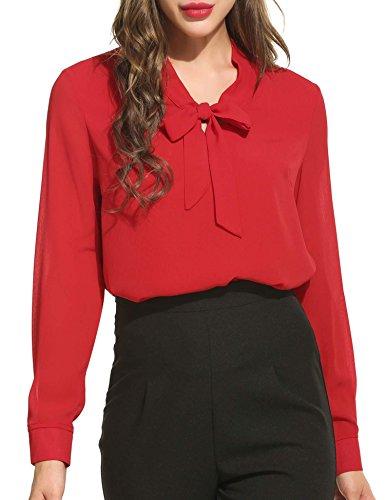 Beyove Damenshirt Classics Lockere V-Ausschnitt Chiffon T-Shirt Basic Schluppenbluses Bluse Langarmshirt Einfarbig, Rot, EU 38(Herstellergröße:M)