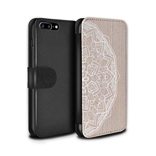 STUFF4 PU-Leder Hülle/Case/Tasche/Cover für Apple iPhone 7 Plus / Fein Rand Muster / Fein Spitzenborte Holz Kollektion Mandala