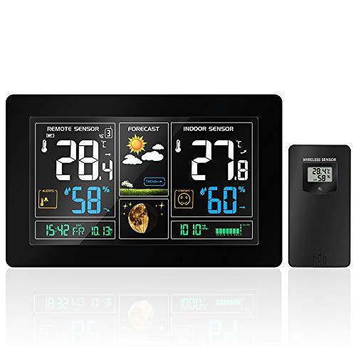 Wireless-temperatur-station (JKHESDF Wireless Wetter Station Temperatur Feuchtigkeit Sensor Bunte LCD Display Wetter Prognose RCC Uhr In/Outdoor)