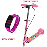 ExcitingDealz Birthday Special Gift Offer Pink Scooter With Brakes & Bell & Pink Silicone Digital LED Bracelet Band Wrist Watch For Kids