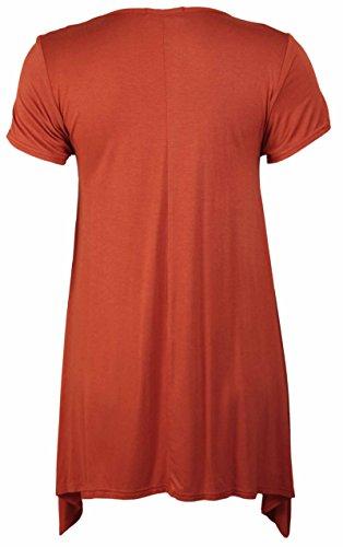 Purple Hanger - Haut T-Shirt Femme Manche Courte Ourlet Inégal Imprimé Tête De Tigre Extensible Grande Taille Marron - Rouille