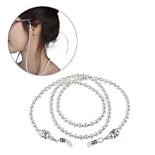 2 Pcs Eyeglass Chain White Beaded Glasses Necklace Strap with Holder