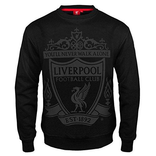 Liverpool FC - Herren Sweatshirt mit Vereinswappen - Offizielles Merchandise - Geschenk für Fußballfans - Schwarz - XL