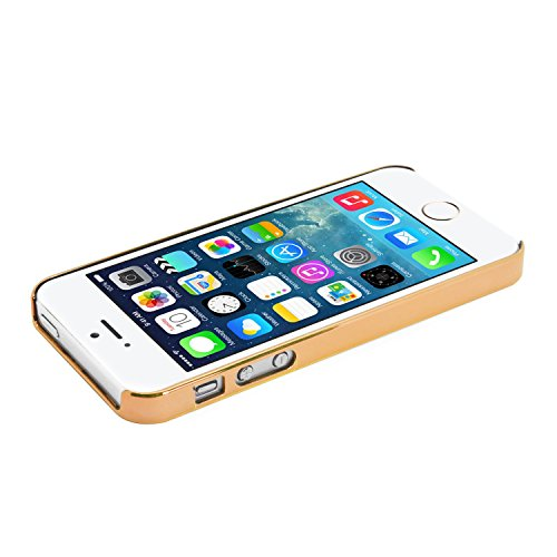 iProtect Schutzhülle Apple iPhone 5, 5s, SE Hülle Walking Dog Edition transparent pink Gold Männchen