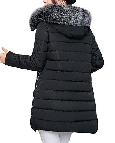 Ghope Femme Fille Manteau Parka Automne Hiver Jacket Veste à Capuche Fourrure Courte Fausse Chaud Doudoune Blouson Parka Veston Hoodie matelassé Hoodie GHCT22 Noir