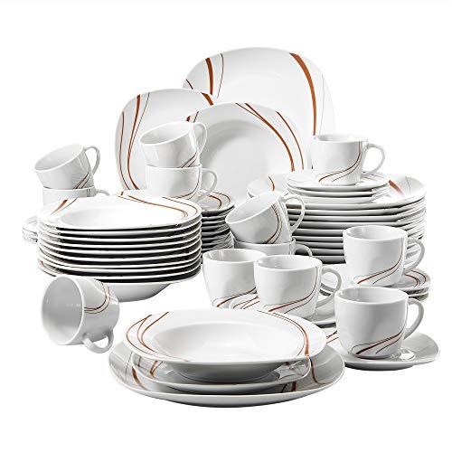 Veweet BONNIE 60pcs Service de Table Porcelaine 12pcs Assiette Plate, Assiette à Dessert, Assiette Creuse, Tasse avec Soucoupes Vaisselles pour 12 Personnes Céramique Blanc Ivoire Design Moderne