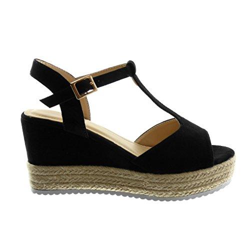 Angkorly Chaussure Mode Sandale Mule Salomés Plateforme Semelle Basket Femme Corde Tréssé Lanière Talon Compensé Plateforme 8.5 cm Noir