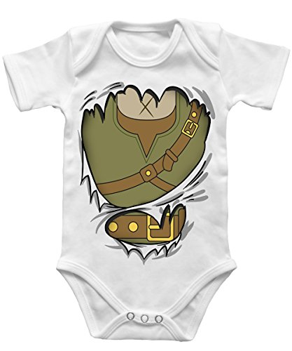-- Abenteurer Baby -- Babybody Weiss, Größe 12/18 (Kostüme Robin Kind Tshirt)