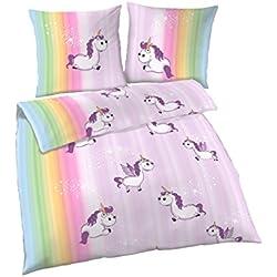 Unicorn Bettwäsche 2tlg | Biber Bettwäsche 135x200 cm & Einhorn Kissen 80x80 | Einhorn Regenbogen Design | Kuschelige Bettwäsche für Unicorn Fan