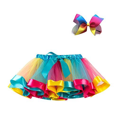WOZOW Tutu Rock Kleinkind Bunt Regenbogen Bowknot Haarspange Multi-Schichten Festliche Tüllrock Halloween Weihnachten Fasching Mädchen Röckchen