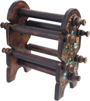 IndiaBigShop Journée cadeau de Père Handcrafted indienne Unique Design Bois Six Rods pliable Bangle stand, Bangles décoratifs Kiosque, Porte-bracelets en bois, Cadeau pour Noël ou anniversaire